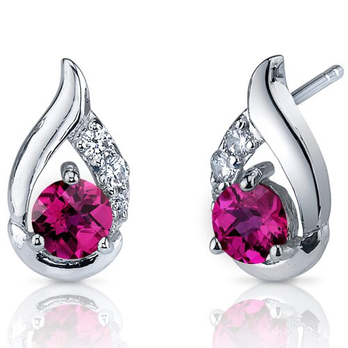 Radiant Teardrop 1.50 Carats Ruby Round Cut Cubic Zirconia Earrings in Sterling Silver