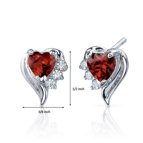 Oravo Cupids Grace 1.00 Carats Garnet Heart Shape Cubic Zirconia Earrings in Sterling Silver