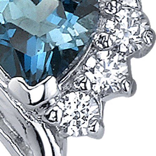Oravo Cupids Grace 1.00 Carats London Blue Topaz Heart Shape Cubic Zirconia Earrings in Sterling Silver