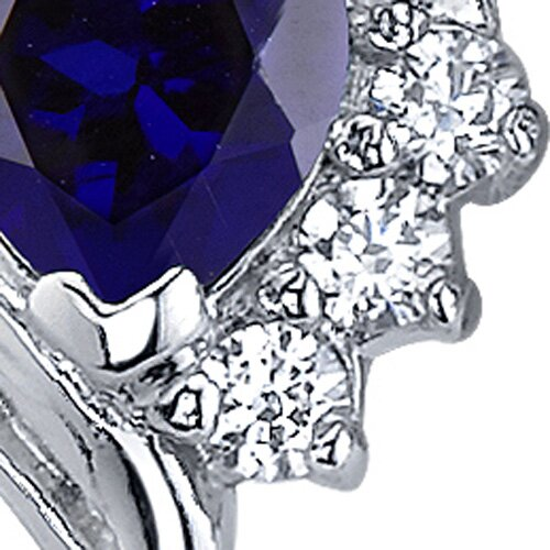 Oravo Cupids Grace 1.50 Carats Blue Sapphire Heart Shape Cubic Zirconia Earrings in Sterling Silver