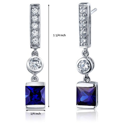 Oravo Exotic Sparkle 2.50 Carats Blue Sapphire Princess Cut Dangle Cubic Zirconia Earrings in Sterling Silver