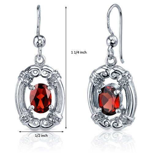 Oravo Antique Style 2.00 Carats Garnet Oval Cut Dangle Cubic Zirconia Earrings in Sterling Silver