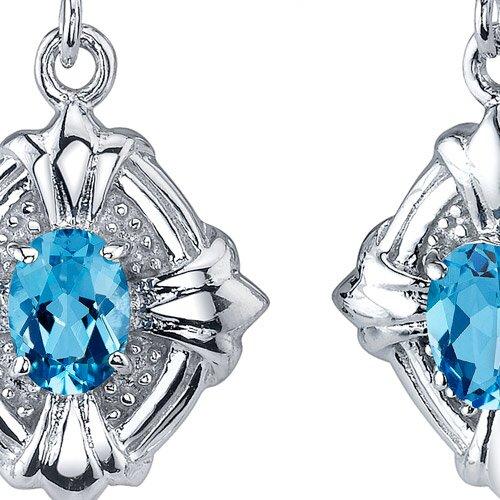 Oravo Victorian Design 2.00 Carats Swiss Blue Topaz Oval Cut Dangle Cubic Zirconia Earrings in Sterling Silver