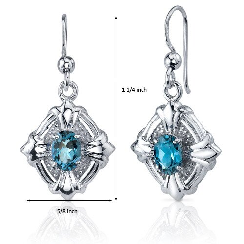 Oravo Victorian Design 1.50 Carats London Blue Topaz Oval Cut Dangle Cubic Zirconia Earrings in Sterling Silver