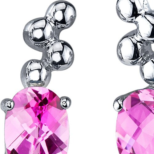 Oravo Bubbly 2.00 Carats Pink Sapphire Oval Cut Earrings in Sterling Silver