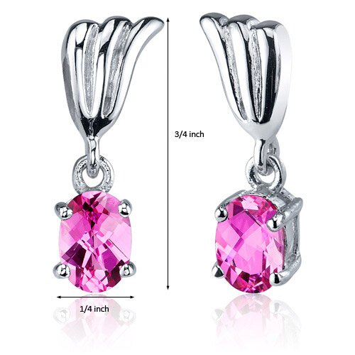 Oravo Striking 2.00 Carats Pink Sapphire Oval Cut Earrings in Sterling Silver