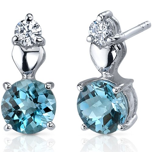 Oravo Gleaming Heart 2.00 Carats London Blue Topaz Round Cut Cubic Zirconia Earrings in Sterling Silver