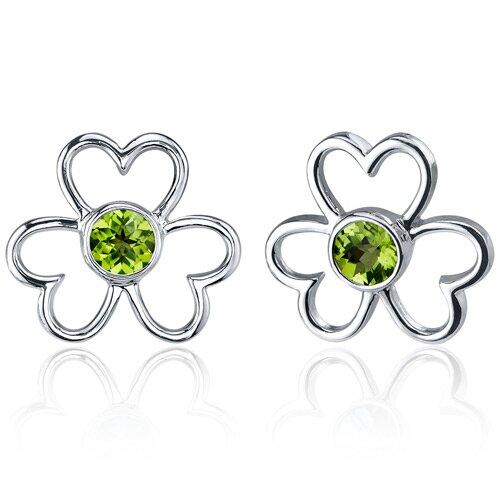 Floral Heart Design 1.00 Carat Peridot Round Cut Earrings in Sterling Silver