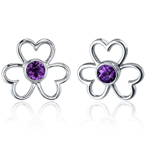 Floral Heart Design 1.50 Carats Alexandrite Round Cut Earrings in Sterling Silver