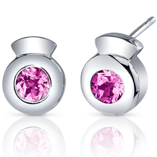 Sleek Radiance 1.50 Carats Pink Sapphire Round Cut Earrings in Sterling Silver