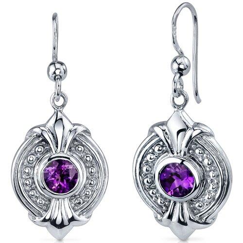 Ornate 1.00 Carat Amethyst Round Cut Dangle Earrings in Sterling Silver