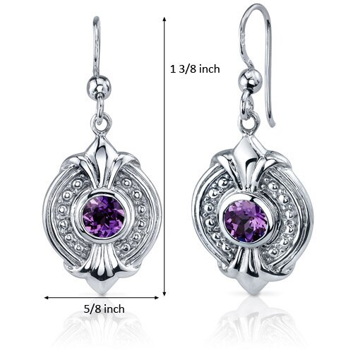 Oravo Ornate 1.50 Carats Alexandrite Round Cut Dangle Earrings in Sterling Silver