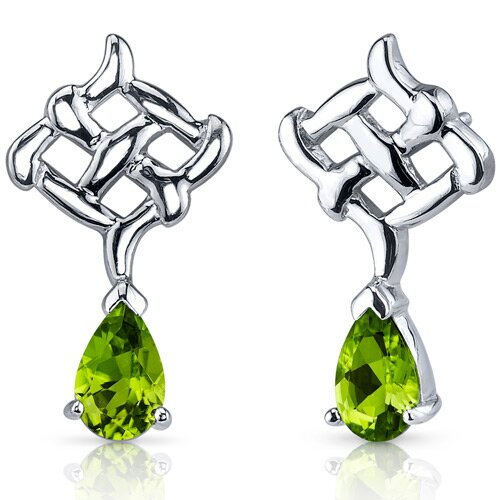 Oravo Ornate Exuberance 1.50 Carats Peridot Pear Shape Earrings in Sterling Silver