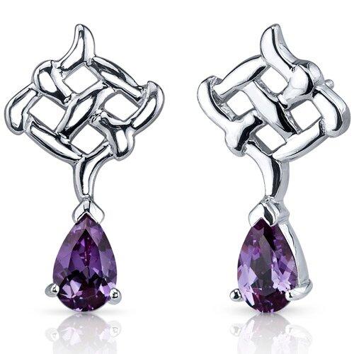 Ornate Exuberance 2.00 Carats Alexandrite Pear Shape Earrings in Sterling Silver