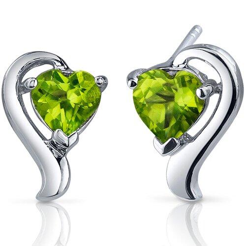 Cupids Harmony 1.50 Carats Peridot Heart Shape Earrings in Sterling Silver