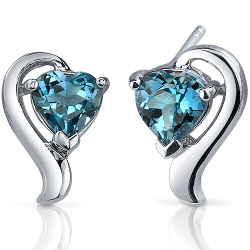Cupids Harmony 2.00 Carats London Blue Topaz Heart Shape Earrings in Sterling Silver