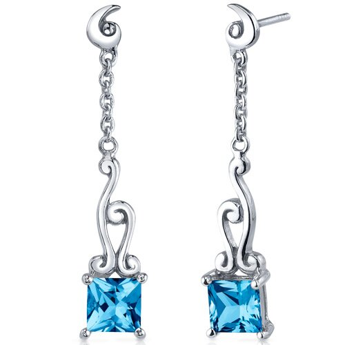 Oravo Lucid Spiral Design 2.50 Carats Swiss Blue Topaz Princess Cut Dangle Earrings in Sterling Silver