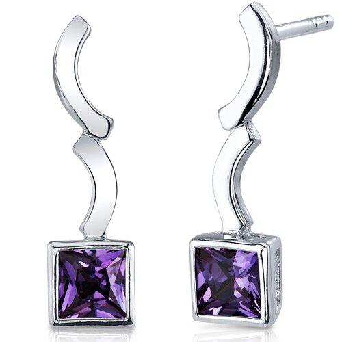 Modern Curves 1.50 Carats Alexandrite Princess Cut Earrings in Sterling Silver