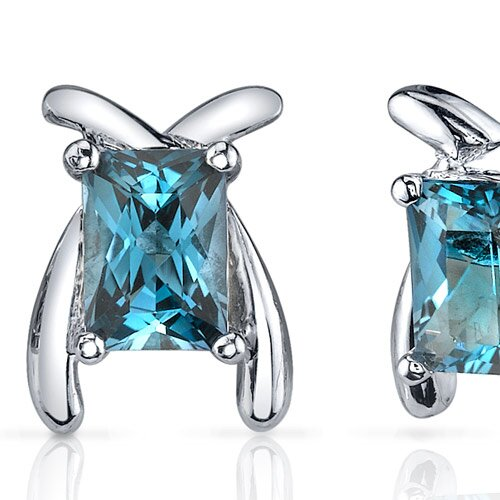 Oravo Striking Color 2.00 Carats London Blue Topaz Radiant Cut Earrings in Sterling Silver