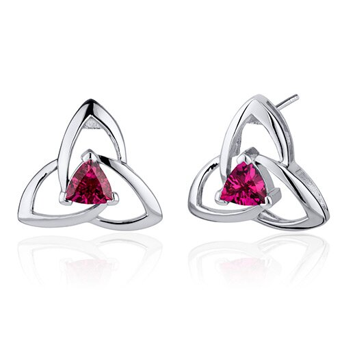 Modern Captivating Spiral 1.00 Carat Ruby Trillion Cut Earrings in Sterling Silver