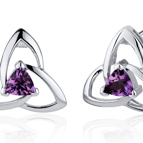 Modern Captivating Spiral 1.00 Carat Alexandrite Trillion Cut Earrings in Sterling Silver