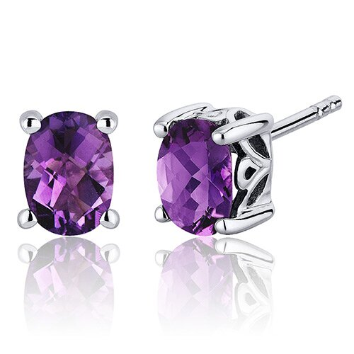 Basket Style Gemstone Oval Cut Stud Earrings in Sterling Silver