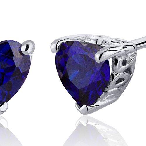 Oravo 2.00 Carats Blue Sapphire Heart Shape Stud Earrings in Sterling Silver