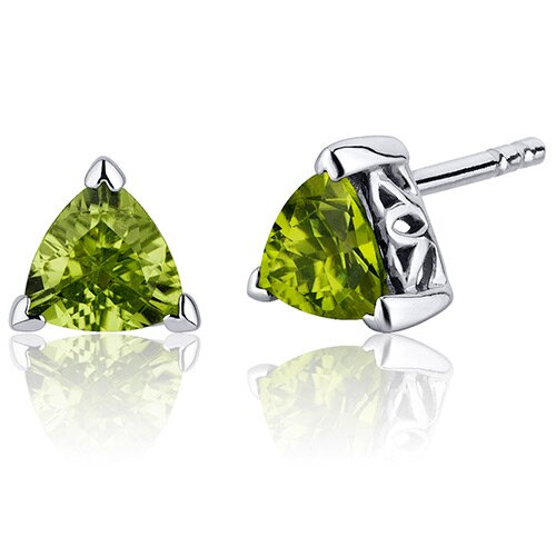 1.50 Carats Peridot Trillion Cut V Prong Stud Earrings in Sterling Silver
