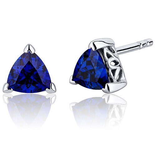 2.00 Carats Blue Sapphire Trillion Cut V Prong Stud Earrings in Sterling Silver