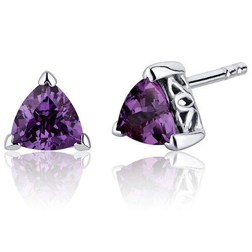 2.00 Carats Alexandrite Trillion Cut V Prong Stud Earrings in Sterling Silver