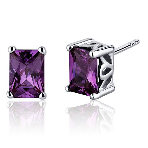 Oravo Radiant Cut 2.50 Carats Alexandrite Stud Earrings in Sterling Silver