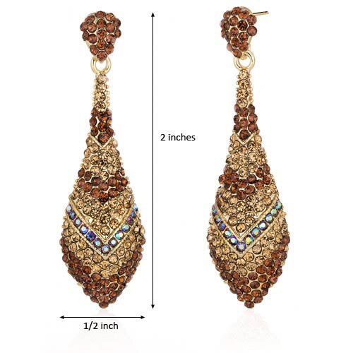 Oravo Dazzling Iridescent Blue and Champagne Gold Tone Dangle Earrings with Swarovski Elements