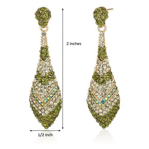 Oravo Dazzling Olive Green Iridescent Blue and Mint Green Gold Tone Dangle Earrings with Swarovski Elements