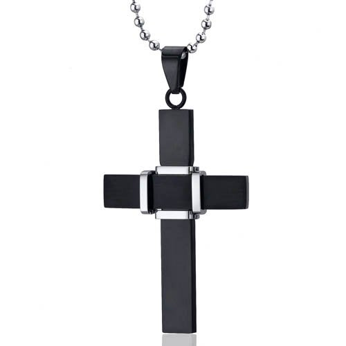 Dynamic Faith Black Finish Surgical Stainless Steel Cross Pendant Neklace for Men