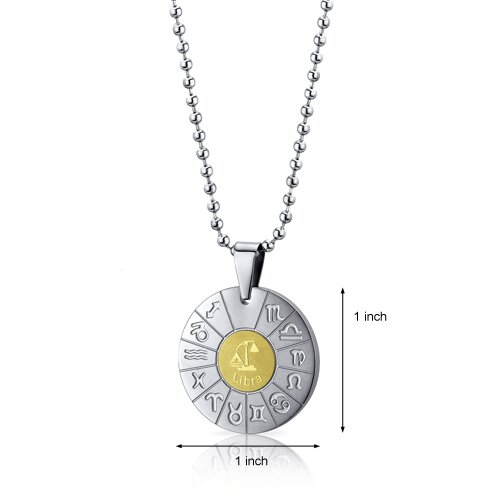 Oravo Libra Scales Sign Zodiac Symbol Stainless Steel Circle Pendant Necklace