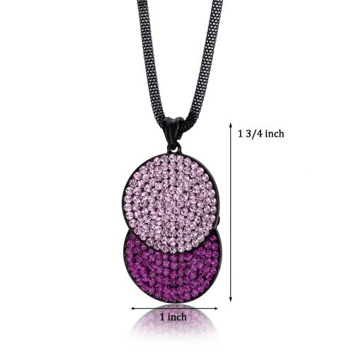 Oravo Overlapping Circles Pink and Fuchsia Swarovski Crystal Double Circle Pendant Necklace