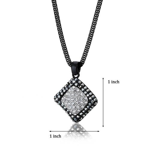 Oravo Wavy Diamond Design Hematite and Clear Swarovski Crystal Pendant Necklace