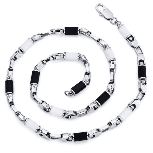 Men's 22 inch Black and White Rubber Accent Stainless Steel Necklace