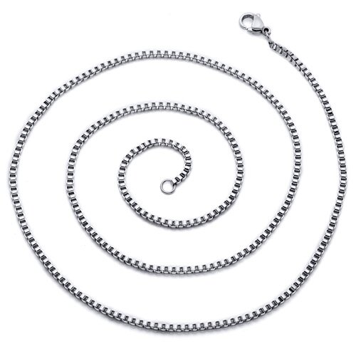 Oravo Men's 22 inch Stainless Steel Box Chain Necklace
