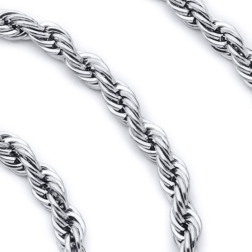 4mm Diamond Cut Stainless Steel Rope Chain Necklace