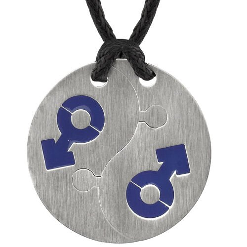 Puzzle Style Surgical Stainless Steel Blue Male Mars Puzzle High Polished Circular Pendant on a ...