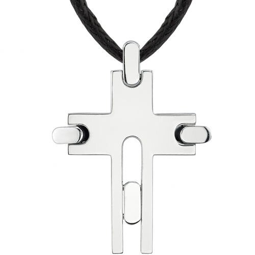 Oravo Soul Fashion Designer Inspired Surgical Stainless Steel Brushed Finish Modern Cross on a Black Cord