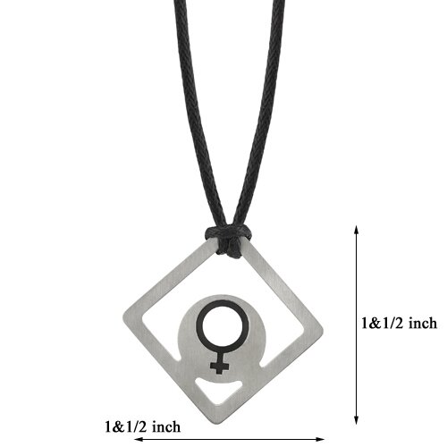 Oravo Power of Venus Designer Inspired Surgical Steel Brushed Finish with Rubber Venus Symbol Square Pendant on a Black Cord