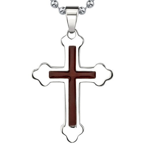 Epic Style High Polished Surgical Stainless Steel Redwood Enamel Finish Medieval Cross Pendant ...