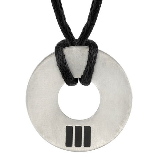 Refined Strength Pendant for Men on a Black Cord in Brushed Finish Titanium with a ...