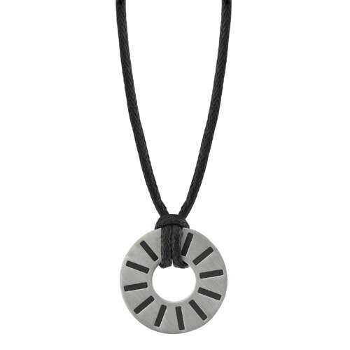 Oravo Debonair Style Disc Pendant for Men on a Black in Titanium with a Brushed Finish and Black Rubber Pattern