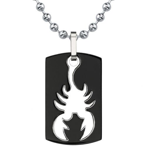 Bold and Passionate Dog Tag Gunmetal finish Titanium Pendant for Men with Scorpion Design on ...