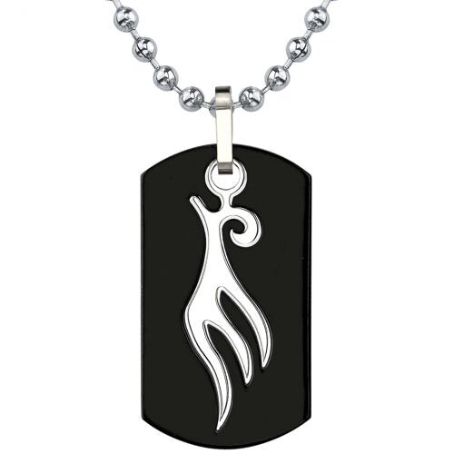 Sleek and Spellbinding Titanium Gunmetal Finish Dog Tag Pendant with Tribal-style Bird Tattoo ...