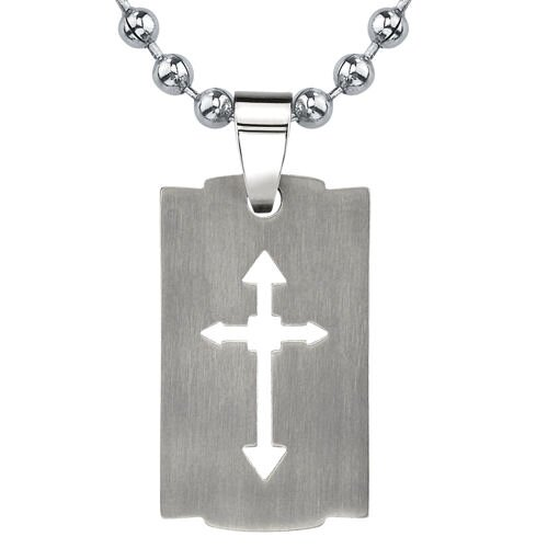 Strong Faith Titanium Brushed Finish Cut-out Arrow Cross Razor Bladed Design Dog Tag Pendant on ...