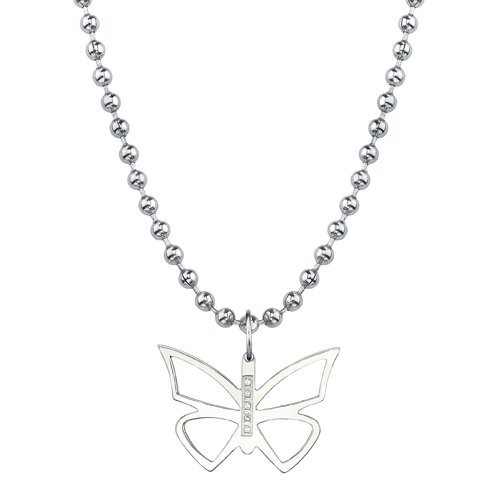 Oravo Cute and Sassy Designer Inspired Titanium Brush Finish Butterfly Pendant with CZ on a Stainless Steel Ball Chain